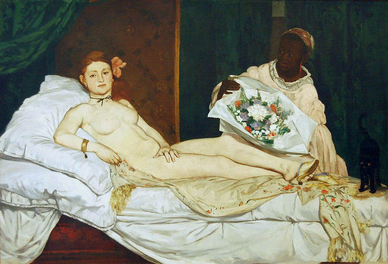Olympia a kép címe, ez már Manet festménye 1863-ból