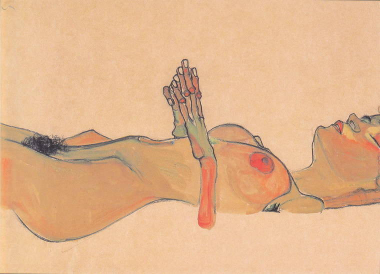 Egon Schiele Totes Mädchen című alkotását látni a képen, kb