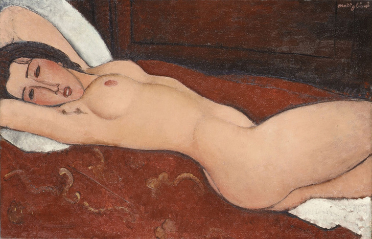 Modigliani is az elődeihez hasonló kanapéra festette meg meztelen modelljét 1917-ben