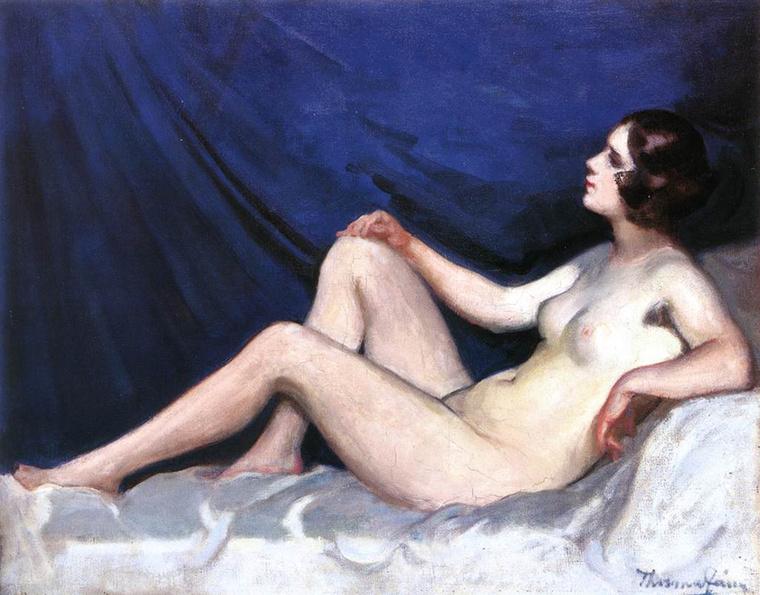 Thorma János Női akt kék háttérrel című festménye az 1930-as években készült.
