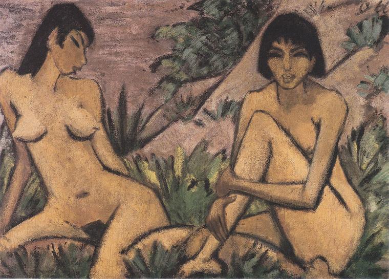 Otto Mueller Zwei in Dünen sitzende Mädchen című képe 1917-ben készült