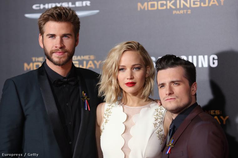 Liam Hemsworth, Jennifer Lawrence, Josh Hutcherson.