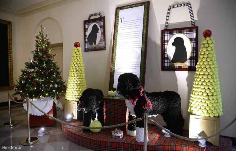 Ez a két fekete műkutya az elnöki család kutyát ábrázolja, a valóságnál jóval nagyobb méretben