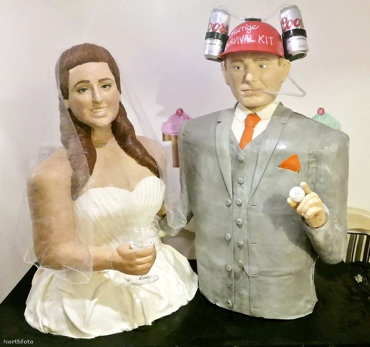 Ráadásul, jajdevicces, a tortavőlegény sörivós sisakkal van felszerelve, hogy könnyebben túlélje a házasságot