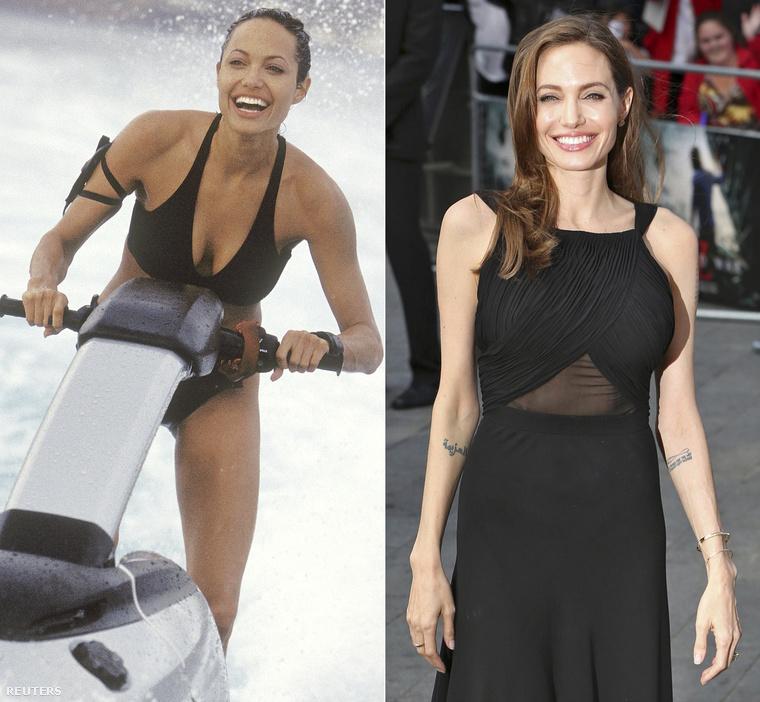 Akkor és 2013-banAngelina Joile a Tomb Raider  forgatása idején és a World War Z premierjén.                         Arcra, kézre nincs túl sok különbség.