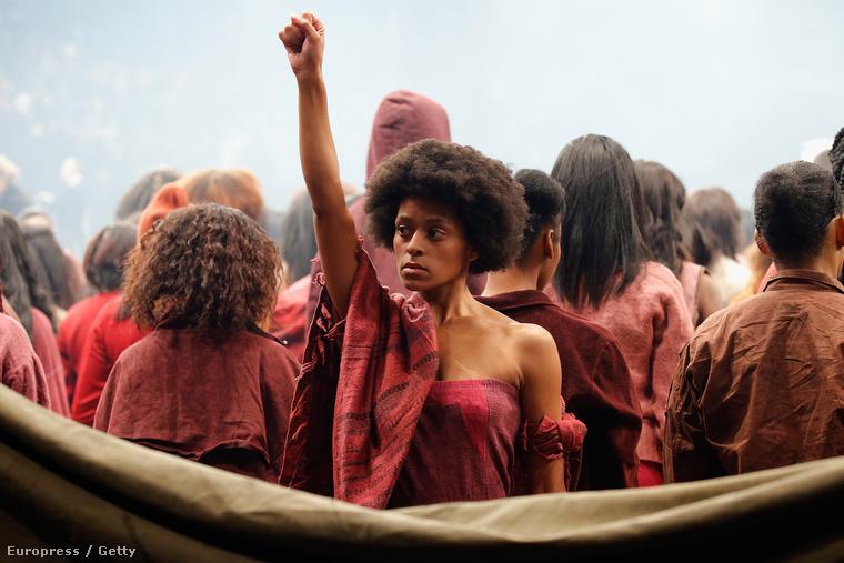 A modell az afroamerikai polgárjogi mozgalom egyik jelképével: ez a magasba tartott, ökölbe szorított kar a Fekete Párduc mozgalom jelképe volt