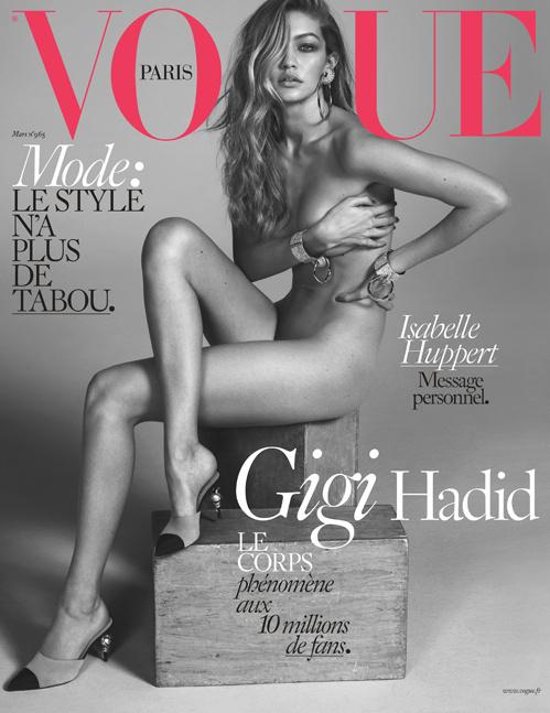Szerencsére jött Gigi Hadid, aki meztelenül domborított a Vogue címlapján,