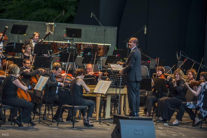 Takács-Nagy Gábor karmester és a Budapesti Fesztiválzenekar a Szabadság napi ünnepi koncerten a Margitszigeti Szabadtéri Színpadon Budapesten 2014. június 19-én.