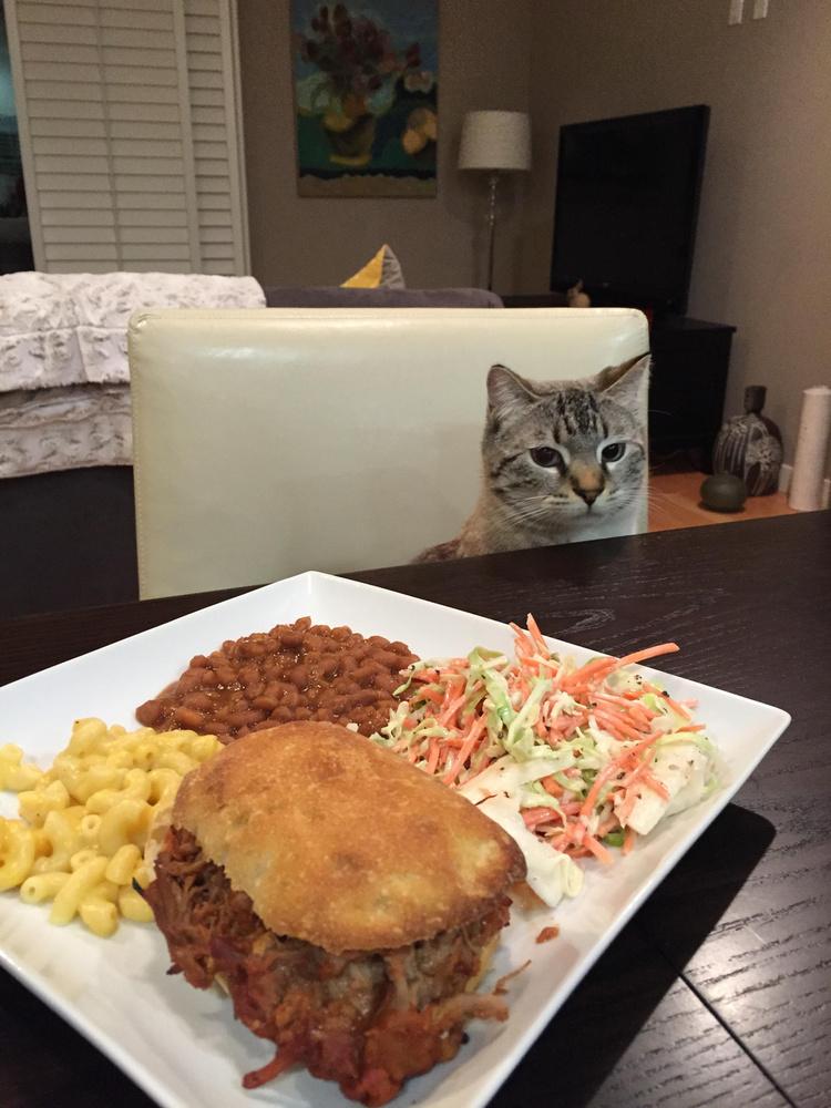De alapvetően azért jólnevelt, hisz sosem nyúl az ételhez, bár nyilvánvaló, hogy nagyon vágyik rá