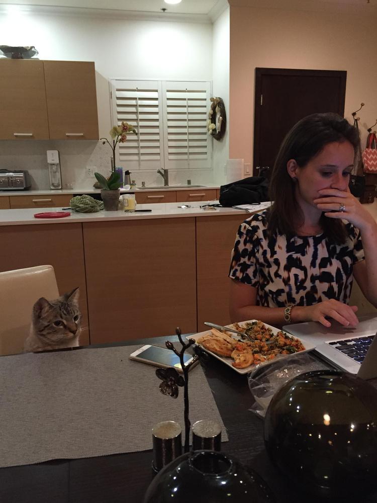 Ő csak illedelmesen leül, hisz vacsoraidő van