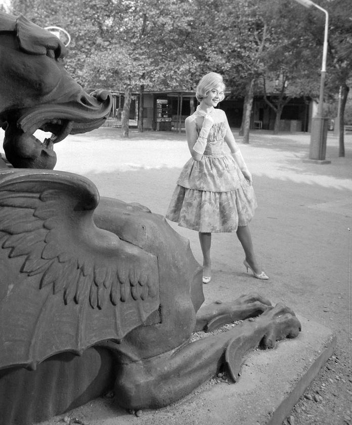 1962: az egykor a Lánchíd melletti kikötői raktár bejáratánál álló három öntöttvas sárkány egyike