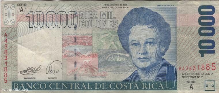 Costa Rica pénzneméről hallott már? Úgy hívják, hogy colón, ilyen egy tízezres
