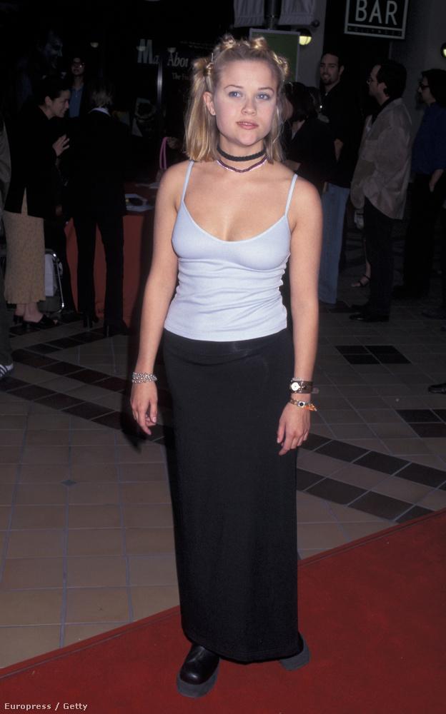 1997: bogyóhaj, pántos trikó, hosszú szoknya, magastalpú cipő.