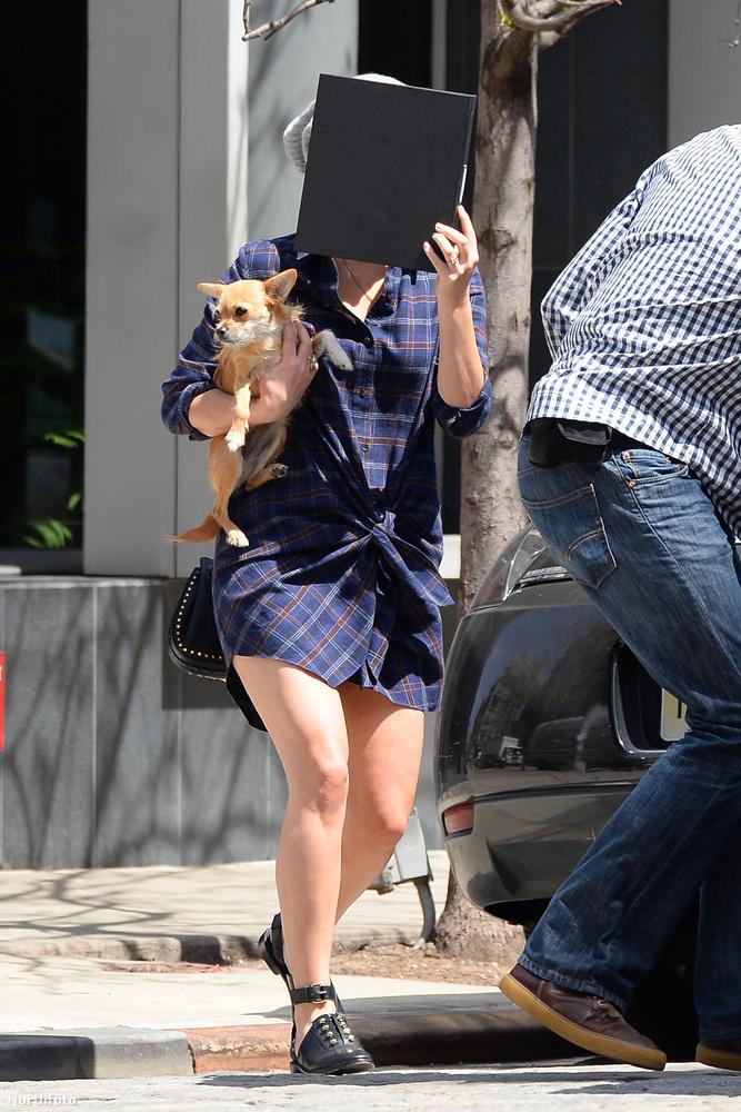 Ezeken a képeken sokat nem fog látni a színésznőből, aki egy mappával takarja el a fejét a fotósok elől