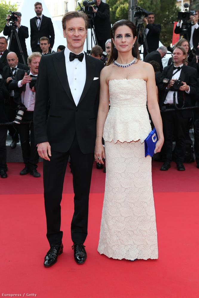 A vörös szőnyegre elkísérte a felesége, Livia Firth is.