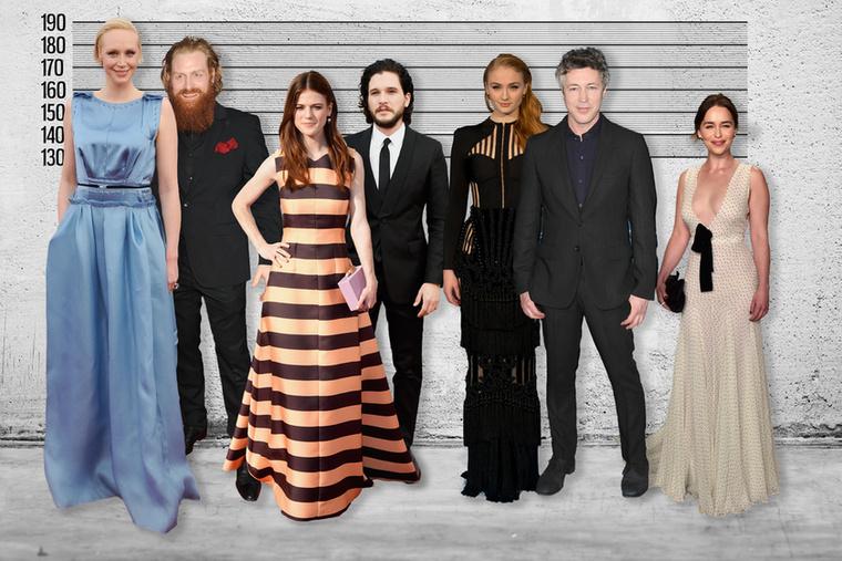 Szóval a valóság az, hogy (balról jobbra) Brienne és Tormund közül azért még mindig a sudár lovagnő a magasabb, Jon és Ygritte (a régi istenek nyugosztalják) magassága hasonló (ők amúgy az életben is egy pár)