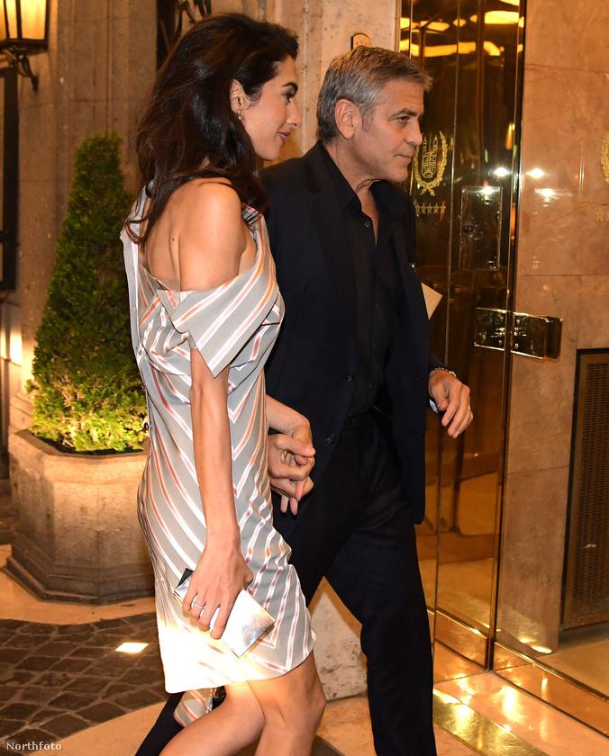 George Clooney és Amal Clooney éppen Rómában vannak, a hétvégén találkoztak a pápával is, de előtte Clooney elvitte a nejét vacsorázni