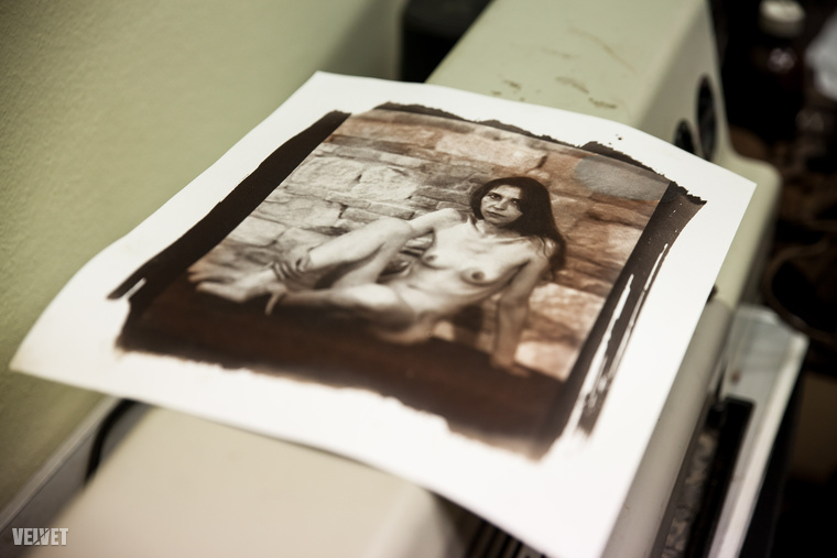 A negatív képekről készült, régies hangulatú másolat témáját, a meztelen nőt a könyv főhőse adta
