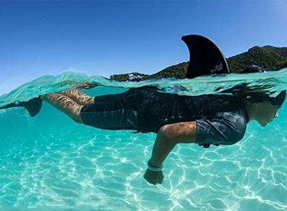 Persze a Balatonban nincsenek cápák, de lehet, hogy még így is a frászt tudja hozni valakire ezzel a felcsatolható cápauszonnyal
