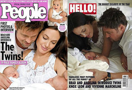 A People magazin a Hello-val karöltve 10 millió dollárral többet adott a róluk készült fotókért, mint a Shiloh-ról készült képekért, így Angelina Jolie és Brad Pitt összesen 14 millió dollárt keresett az ikrekkel