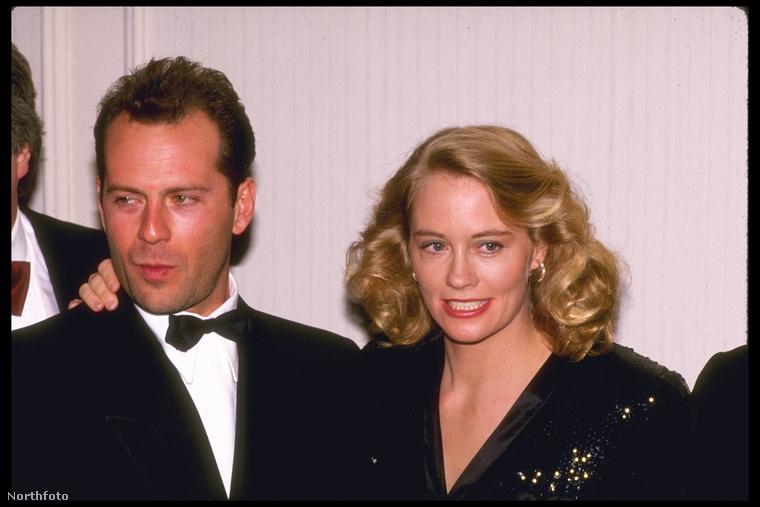 Bruce Willis sorozatbeli partnerével, Cybill Shepherddel látható a képen, 1987-ben