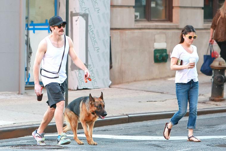 A színész a kutyája, egy ismeretlen lány és észrevétlennek nem mondható arcszőrzet társaságában sétált Manhattan utcáin.