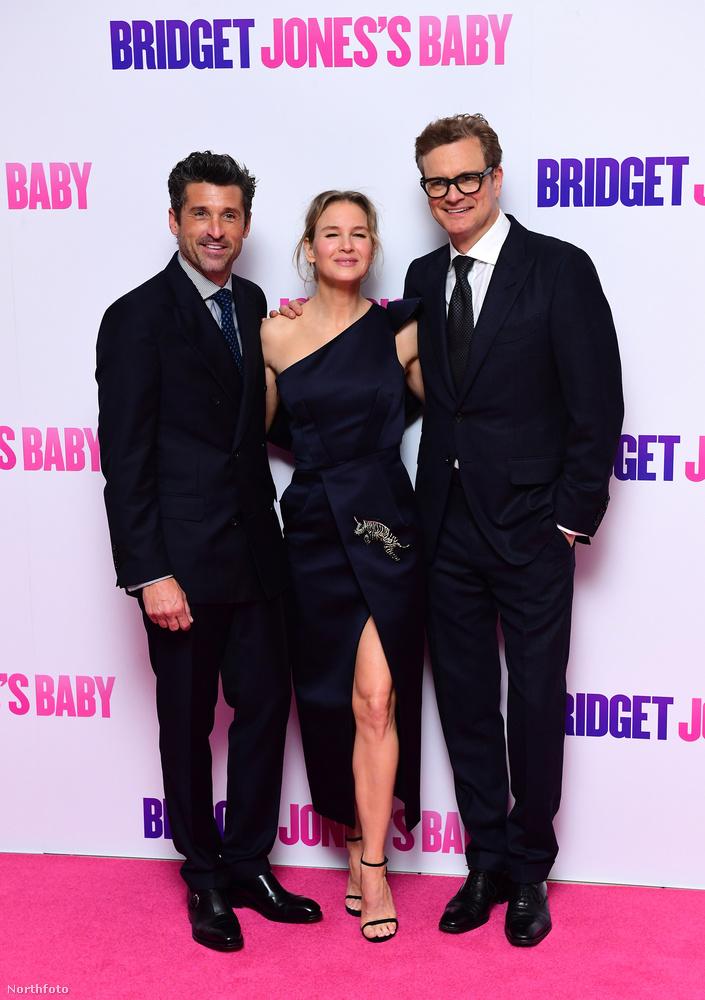 A főszereplők: középen Renée Zellweger, tőle jobbra Colin Firth, őket már ismerhetjük az előző Bridget Jones filmekből