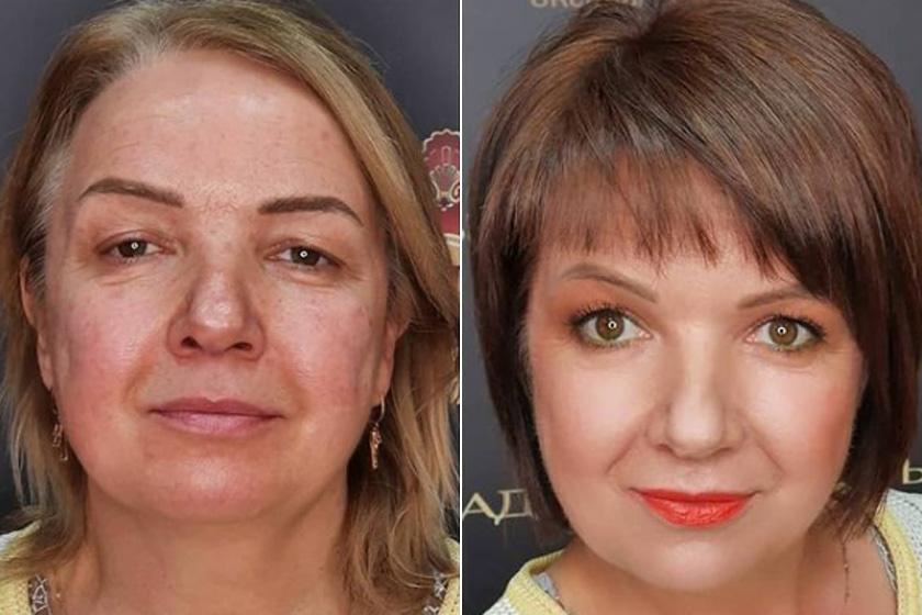 Mintha nem ugyanaz a nő lenne a két képen: ennyit tesz, ha új frizurát és sminket ad a stylist