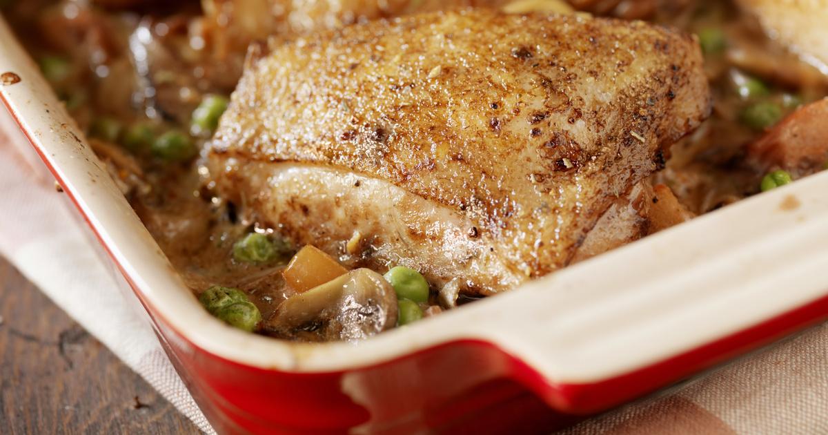 Zöldborsóval és répával sült csirke: jó szaftos, és alig van vele munka