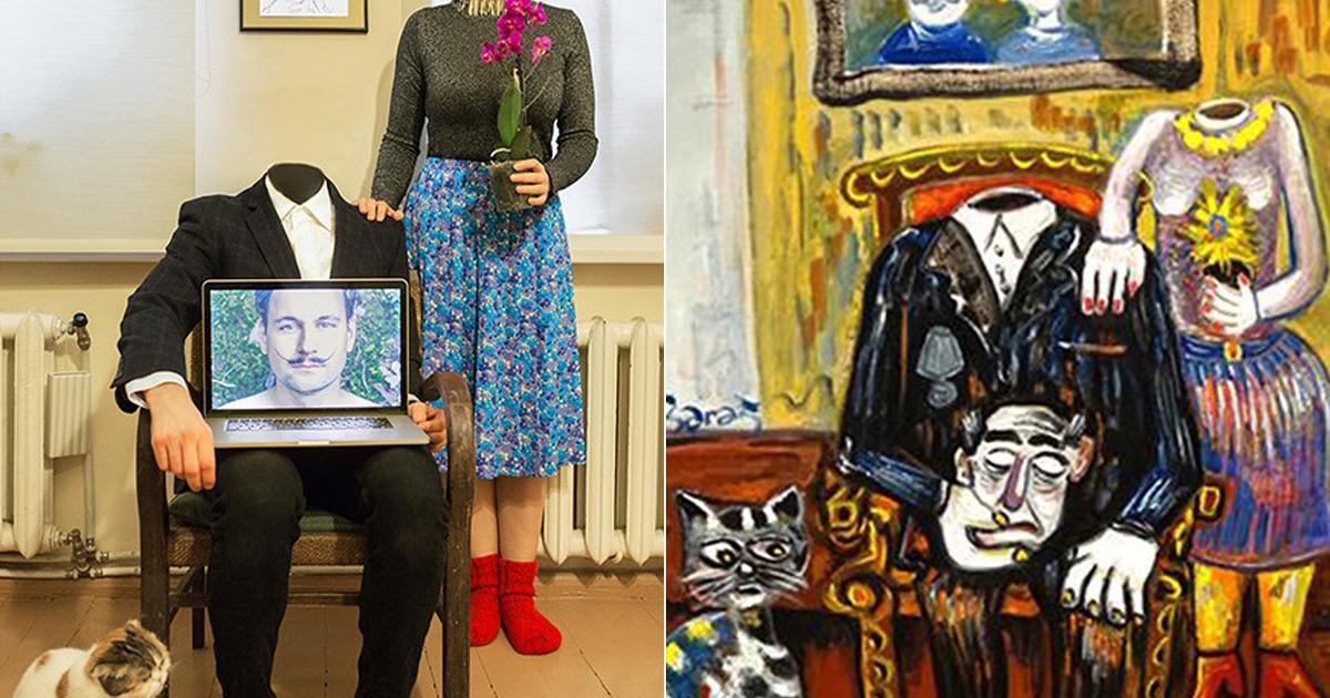 Vicces hobbit talált magának a pár a karantén alatt: világhírű festményeket alkottak újra