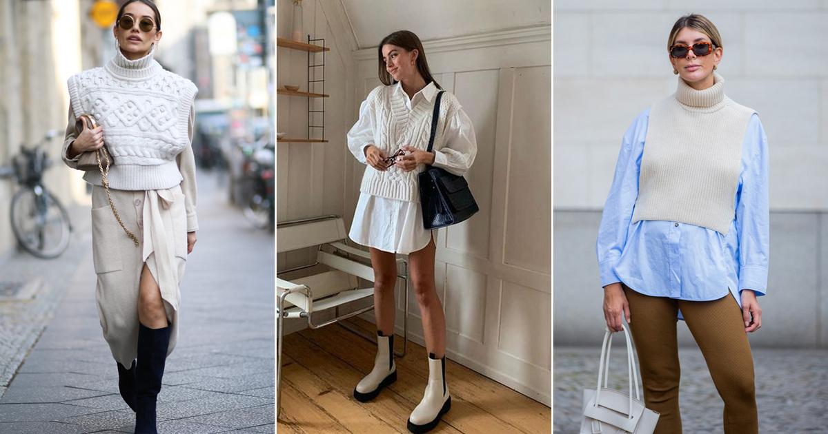 Így viseld az ősz legtrendibb ruhadarabját: a kényelmes kötött mellény nőies és csinos is lehet