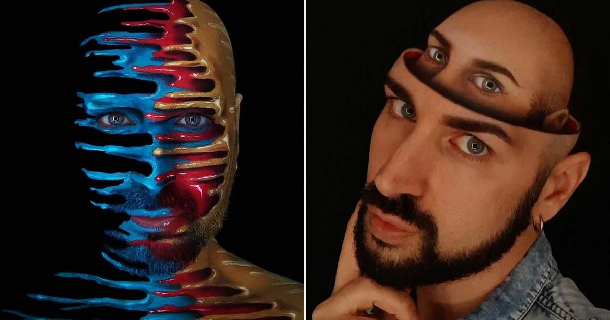 Elképesztő, amit ez a sminkes férfi az arcával művel: alkotásai becsapják a szemet