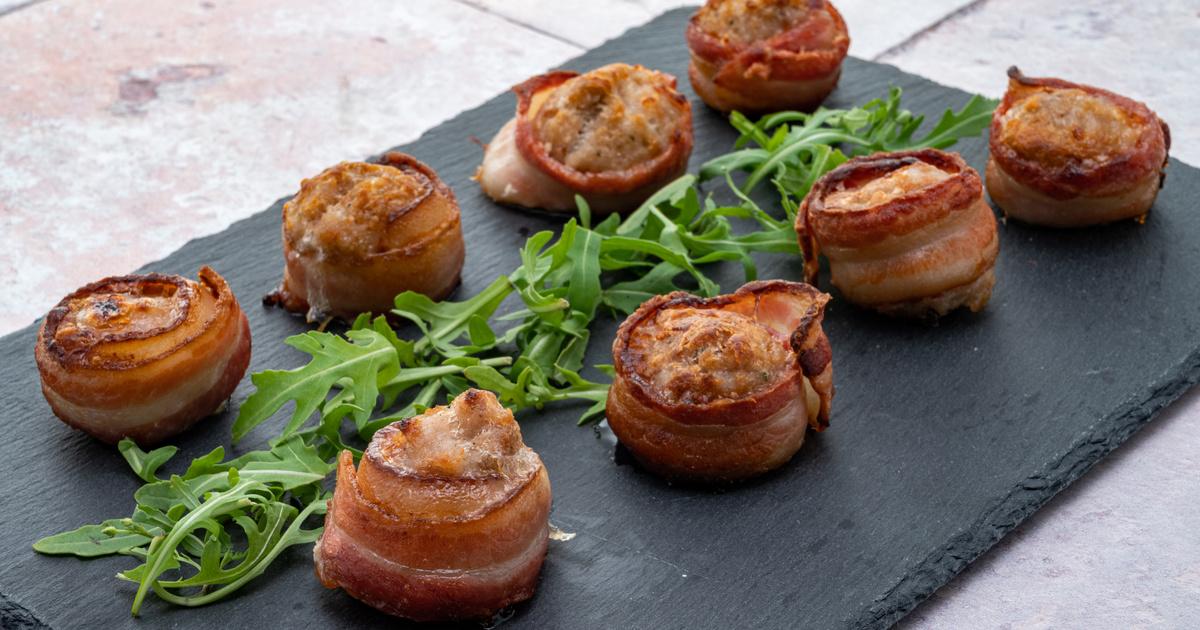 Baconbe tekert sajtos húsgolyók sütőben sütve: finom szaftos és ropogós