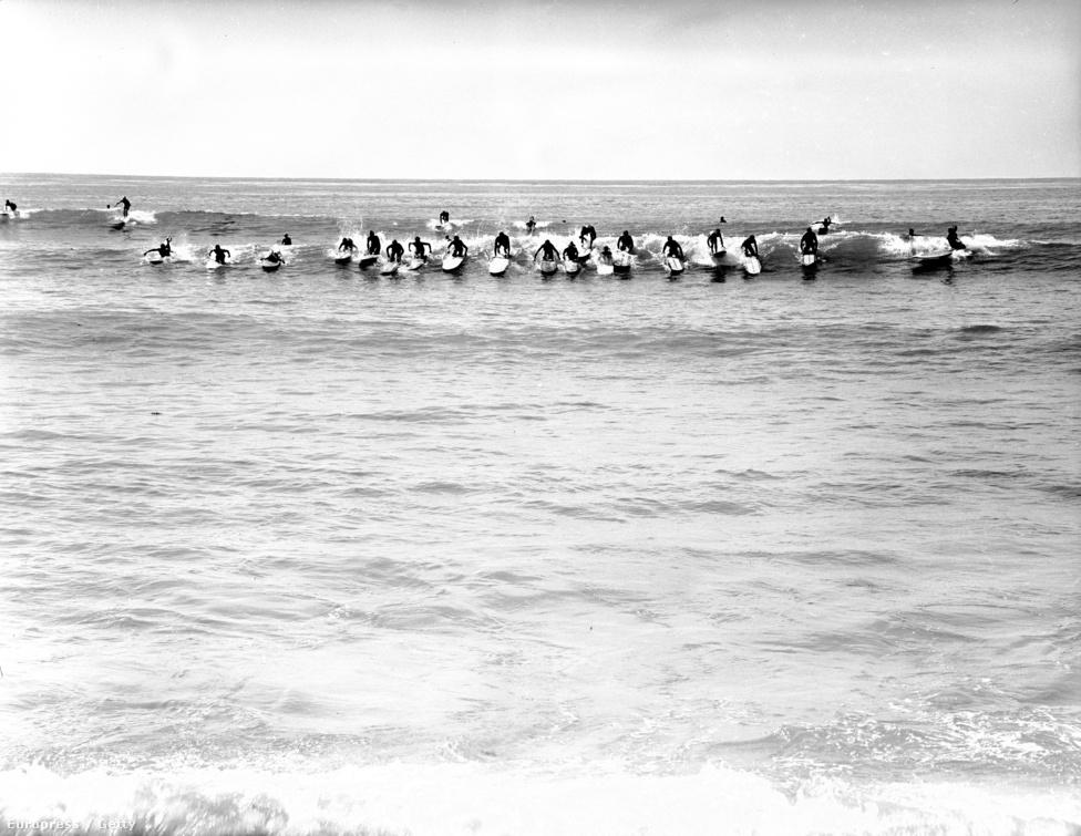 Egyetlen hullámon tobzódnak San Onofre szörfösei. Remélhetőleg nem ütötte meg magát egyikőjük sem.