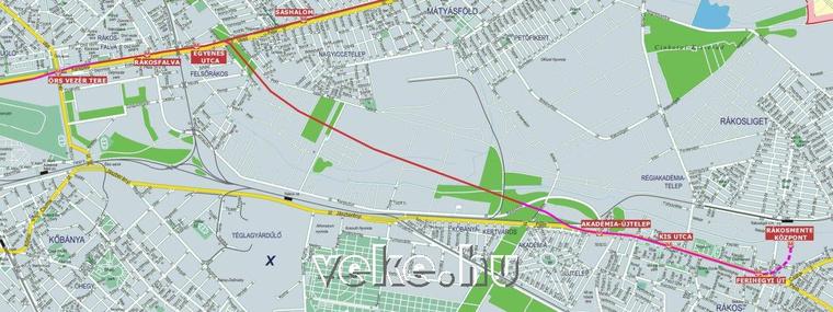 A kettes metró javasolt rákoskeresztúri ágának egy lehetséges nyomvonala (piros a felszíni, lila a felszín alatti szakasz