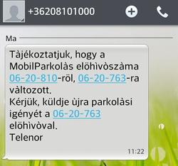 Ezt az üzenetet kapja, aki a régi, 810-es kezdetű számra küldi az SMS-t