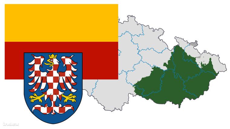 A morva zászló és címer, zölddel pedig Morvaország területe