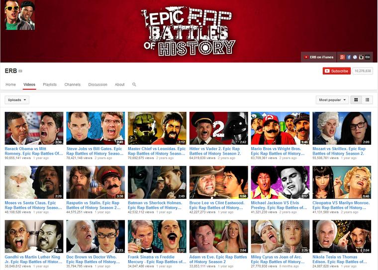 Epic Rap Battles of History. 40-50 milliós nézettségek futószalagon