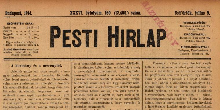 Olvasson bele a 100 évvel ezelőtti hírekbe az Arcanum archívumában, kattintson a képre!