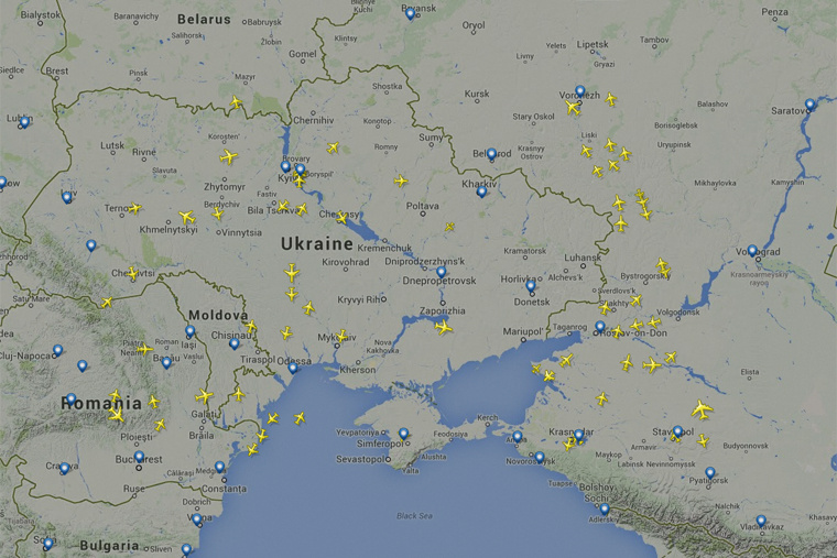 A Flightradaron látszik, ahogy a gépek elkerülik a katasztrófa helyszínét