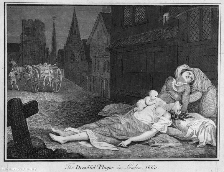 Illusztráció az 1665-ös londoni pestisjárványról.