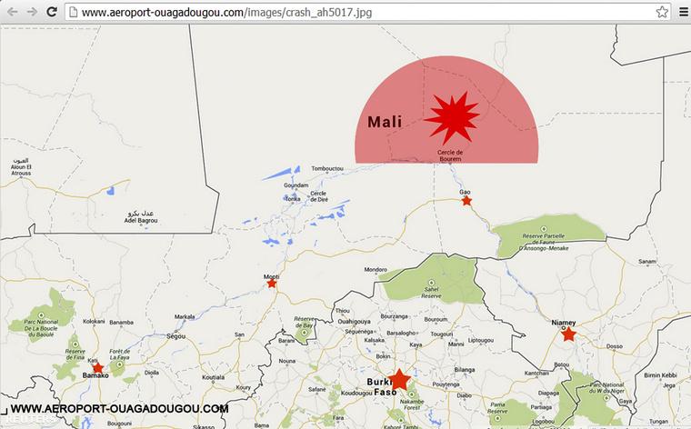 Az Ouagadougou reptér honlapjáról készült felvétel:a térképen vörössel jelölve a terület ahol az AH5017 repült, amikor elvesztették a géppel kapcsolatot.