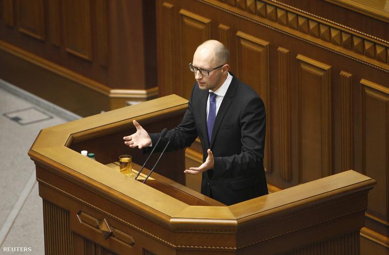 Arszenyij Jacenyuk a kijevi parlamentben, 2014. július 24-én.