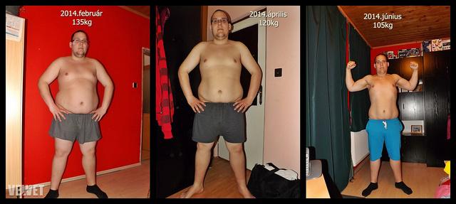 Az adatokból látszik, hogy a három fotó között négy hónap és 30 kiló a különbség