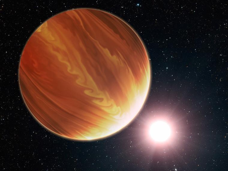 Grafika a HD 209458b katalógusjelű, nem hivatalosan Osiris nevű, a Földtől150 fényévre található, a Pegasus csillagkép irányában megfigyelhető gázóriásról. A forró jupiter típusú bolygó tömege a Földének körülbelül 220-szorosa, atmoszférájának becsült hőmérséklete pedig mintegy 1200 °C.
