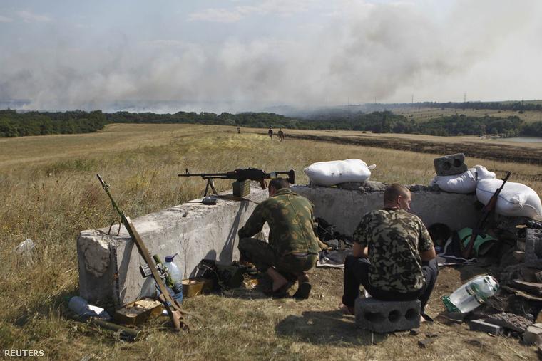 Az ukrán hadsereg géppuskafészke Donyeck környékén