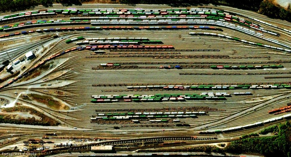 Az atlantai Inman Yard vasútállomás sínpárjai