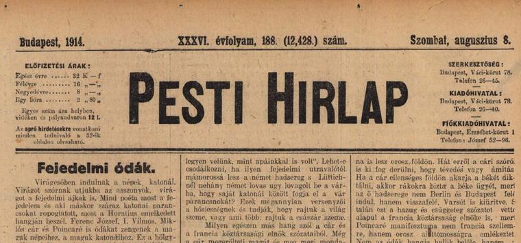 Olvasson belel a 100 évvel ezelőtti újságokba az Arcanum archívumban - kattintson!