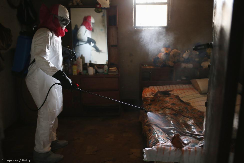 Moore váratlanul már a repülőn találkozott a libériai külügyminiszterrel, aki éppen a kísérleti ebolaszérumot vitte haza. Az első munkanapján azonnal a West Point-i karanténba ment helyi újságírók társaságában, ahol tünetmentes gyerekek is együtt laktak az ebolás betegekkel. A képen az ebolában meghaltak holttestét fertőtlenítik libériai egészségügyi szakemberek. Mivel a betegség közvetlen érintkezéssel terjed, a hullamosás életveszélyes lenne.