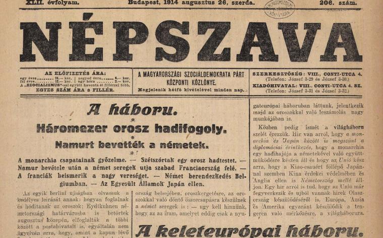 Olvasson bele a 100 évvel ezelőtti újságokba az Arcanum archívumában! Kattintson!